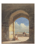 An Arch at Holy Island, Northumberland, 1809 (Graphite and W/C on Paper) Giclée-Druck von John Varley