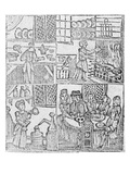 Kitchen Interiors, an Illustration from 'A Book of Roxburghe Ballads' (Woodcut) Giclee Print by  English