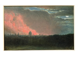 Fire in London Seen from Hampstead (Oil on Paper Laid on Panel) Giclee Print by John Constable