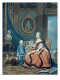 Portrait of Marie-Josephe De Saxe (1731-67) Dauphine of France and Her Son Giclee Print by Maurice Quentin de La Tour