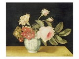 Flowers in a Delft Jar (Oil on Panel) Giclee Print by Alexander Marshal