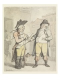 A Bookmaker and His Client Outside the Ram Inn, Newmarket (W/C with Pen and Ink on Paper) Giclee Print by Thomas Rowlandson