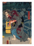 The Blood Stained Witch - Figure from Japanese Theatre, 1852 (Colour Woodblock Print) Giclee Print by Utagawa Kunisada
