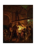 The Blacksmith&#39;s Shop (Oil on Canvas) Giclee Print by Joseph Wright Of Derby