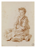 Small Girl Sitting on the Ground (Red Chalk on Paper) Reproduction procédé giclée par Jean-Honore Fragonard