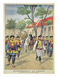European Foreigners under Armed Escort by Chinese Regular Soldiers During the Boxer Rebellion Giclee Print by Oswaldo Tofani