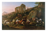Classical Landscape with Animals Giclee Print by Johann Heinrich Roos
