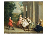 Children Playing with a Hobby Horse, C.1741-47 (Oil on Canvas) Giclee Print by Joseph Francis Nollekens