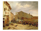 The Battle of 31st March 1849 in the Via Delle Consolazioni in Brescia Giclee Print by Faustino Joli