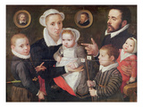 Portrait of a Family: Parents with their Children and Ancestors, 1577 (Oil on Panel) Giclee Print by Frans Menton d'Alkmaar