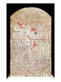 Stele Depicting a Funerary Meal, New Kingdom (Painted Limestone) Giclee Print by  Egyptian 18th Dynasty