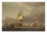 A Seascape with Men-Of-War and Small Craft Giclee Print by Francis Holman