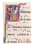 Ms 241 F.144 Historiated Initial 'S' Depicting the Presentation of Jesus at the Temple Premium Giclée-tryk af  French