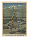 A Swimming Champion Attacked by a Sea Monster Giclee Print by  French