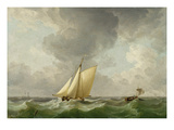 A Cutter in a Strong Breeze (Oil on Copper) Giclee Print by Charles Brooking