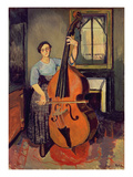 Woman with a Double Bass, 1908 Giclee Print by Marie Clementine Valadon