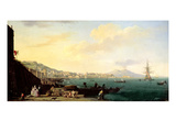 View of Naples with Vesuvius in the Background Giclee Print by Claude Joseph Vernet