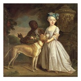 A Young Girl with a Dog and a Page, 1720-30 Giclee Print by Bartholomew Dandridge