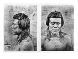 Portrait and Profile of Bororo Man of Central Brazil Giclee Print by  German photographer