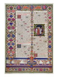 Illuminated Page from the Book of Psalms, from the Borso D'Este Bible. Vol 1 (Vellum) Premium Giclee Print by  Italian