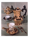 Teapot, Sugar Bowl, Chocolate Pot and Mug, from a Meissen Breakfast Service Made by Domanek, Vienna Giclee Print by  Austrian