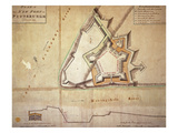 Plan of the New Fort at Pittsburgh, November 1759 (Hand Coloured Engraving) Giclee Print by  American