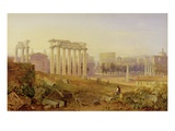 Across the Forum, Rome, 1828 (W/C and Gouache over Graphite on Paper) Giclee Print by Hugh William Williams