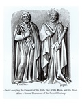 Two Druids, One Carrying the Crescent of the Sixth Day of the Moon Giclee Print by Albert Charles August Racinet
