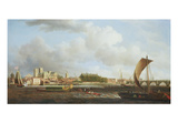 Westminster from Lambeth, with the Ceremonial Barge of the Ironmongers' Company, C.1745 Giclee Print by Samuel Scott
