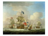 British Men-Of-War and a Sloop, c.1720-30 Giclee Print by Peter Monamy