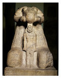 Statue of Amun in the Form of a Ram Protecting King Taharqa, 690-664 BC (Granite) Giclee Print by  Egyptian 25th Dynasty
