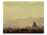 Houses Dominated by a Dome, Rome (Oil on Paper Mounted on Card) Giclee Print by Pierre Henri de Valenciennes