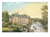 The Chateau De La Chaussee, Bougival (Gouache on Paper) Premium Giclee Print by  French