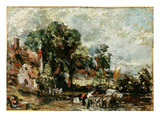 Sketch for 'The Haywain', C.1820 (Oil on Paper on Panel) Giclee Print by John Constable