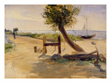 The Banks of the Elbe, 1840 (Oil on Paper on Board) Giclee Print by Jacob Gensler