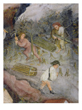 Lumberjacks at Work. Felling Trees in the Forest (Fresco) Giclee Print by  Italian