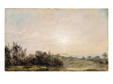 Hampstead Heath, Looking Towards Harrow, 1821-22 (Oil on Paper Laid on Canvas) Giclee Print by John Constable
