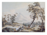 Italianate Landscape with Travellers, No.1 (W/C on Paper) Giclee Print by Paul Sandby