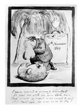 Rossetti Lamenting the Death of His Wombat, 1869 (Pen and Ink on Paper) Premium Giclee Print by Dante Gabriel Rossetti