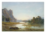 Sunset over a River Landscape, C.1840 (W/C with Bodycolour over Graphite on Paper) Giclee Print by Francis Danby