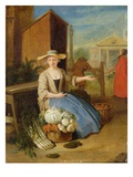 Vegetable Seller, Covent Garden, C.1726 (Oil on Panel) Giclee Print by Pieter Angillis
