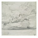 Elijah Casting Off His Mantle (Graphite Wash) Giclee Print by James Ward