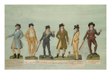 Fol.43 Fashionable Dress for Men During the Period of the French Revolution (Gouache) Giclee Print by P. A. Lesueur