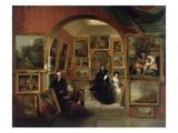 The Interior of the British Institution Gallery, 1829 Premium Giclee Print by John Scarlett Davis