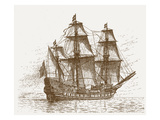The Swedish Flagship Mars, before the Battle of Gotland-Oland (Etching) Giclee Print by  Russian