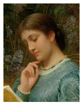 Girl Reading (Possibly Kate Dickens) Giclee Print by Charles Edward Perugini
