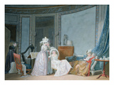 Meeting in a Salon, 1790 (Gouache on Paper) Giclee Print by Jean Baptiste Mallet