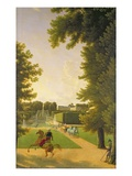 Promenade of Napoleon I (1769-1821) and Marie-Louise (1791-1847) in the Parc De Saint-Cloud in 1810 Giclee Print by Jean Bidauld