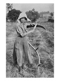 Harvesting - Member of the Leicester Women's Volunteer Reserve Helping a Farmer Giclee Print by  English Photographer