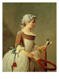 Girl with Racket and Shuttlecock, c.1740 Premium Giclee Print by Jean-Baptiste Simeon Chardin
